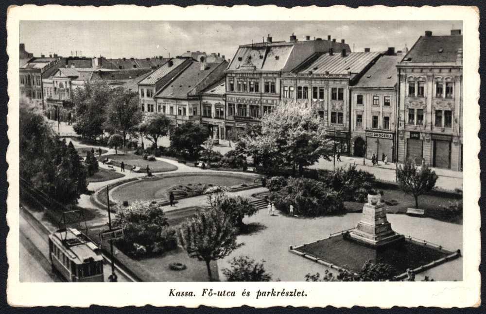 Kassa – Fő utca, 1939. Képeslap. Jelzet: K 570 – Plakát- és Kisnyomtatványtár