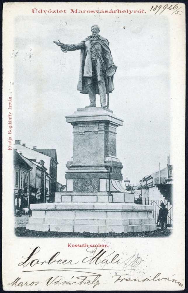 A Kossuth-szobor Marosvásárhelyen. Képeslap – Térkép-, Plakát-, és Kisnyomtatványtár. Jelzet: M 1098