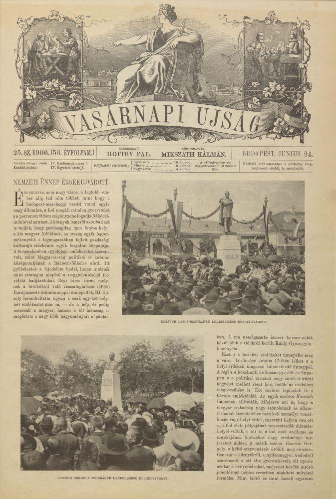 Vasárnapi Újság, 53. évf. 25. sz. (1906. jún. 24.). Címlap – Elektronikus Periodika Archívum https://epa.oszk.hu/00000/00030/02706/pdf/VU_EPA00030_1906_25.pdf