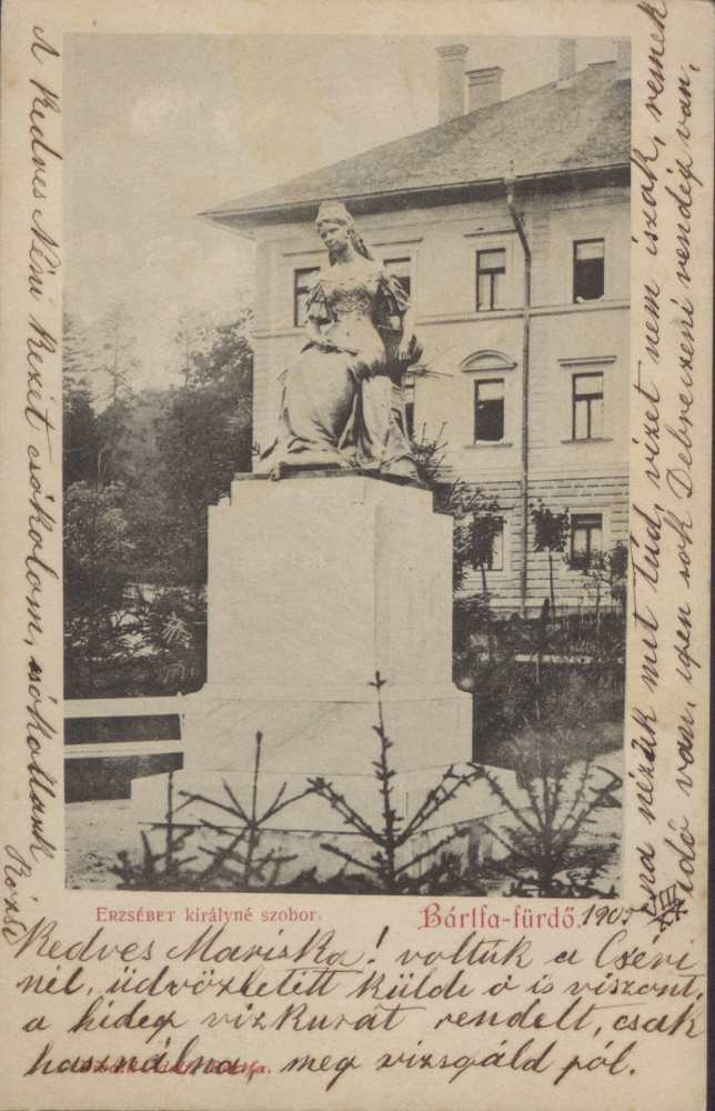 Erzsébet királyné szobra Bártfafürdőn. Képeslap – Térkép-, Plakát- és Kisnyomtatványtár. Jelzet: B 1898.
