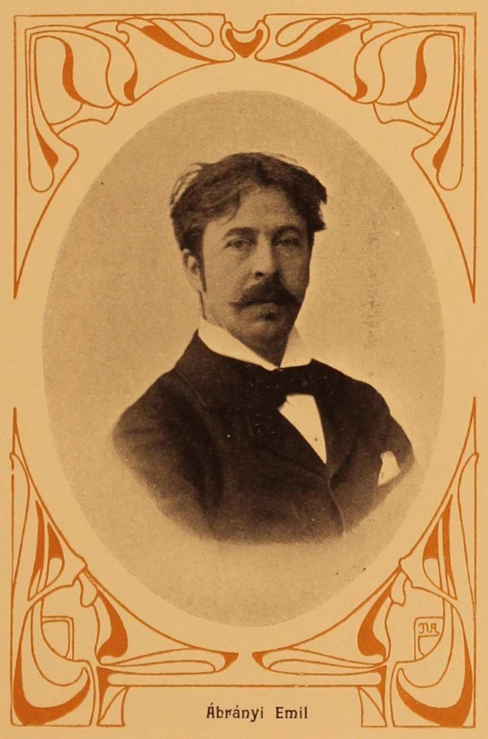 Ábrányi Emil (1861–1920) portréja. A költő édesapja, id. Ábrányi Kornél, az első magyar zenei szakfolyóirat, a Zenészeti Lapok alapító-főszerkesztője, a Zeneakadémia öt első tanárának egyike volt.