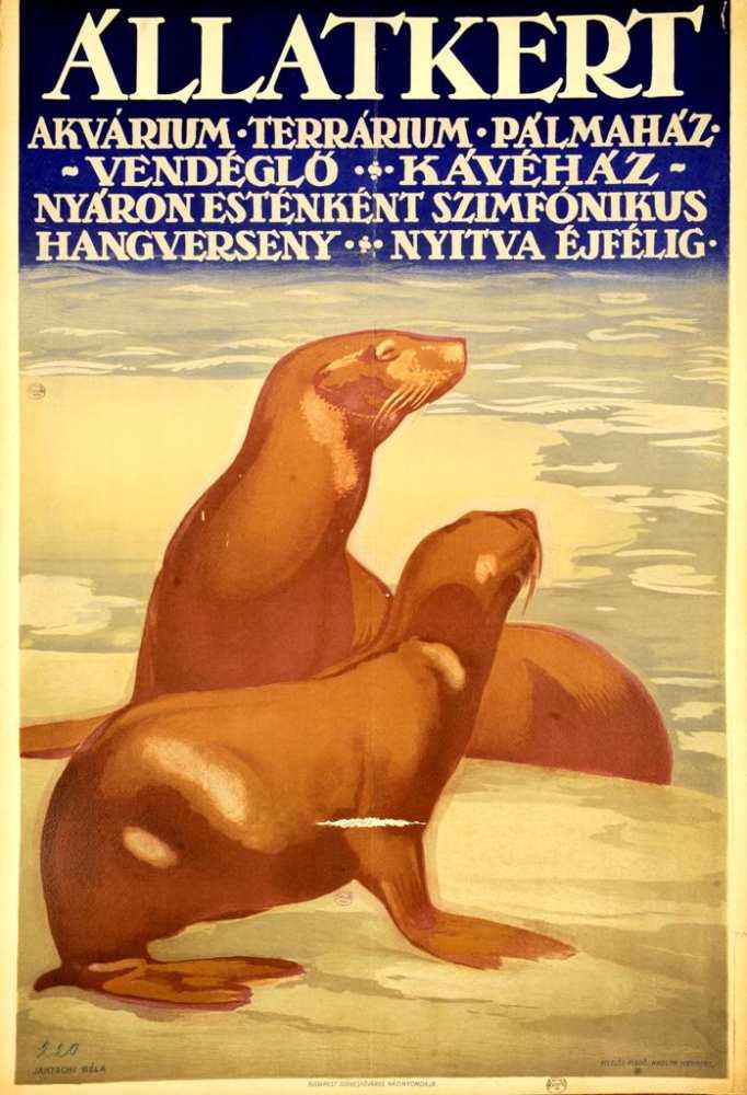 Állatkert. Plakát. Grafikus: Jantschi Béla (1903–?) – Térkép-, Plakát- és Kisnyomtatványtár. Jelzet: PKG.én/328