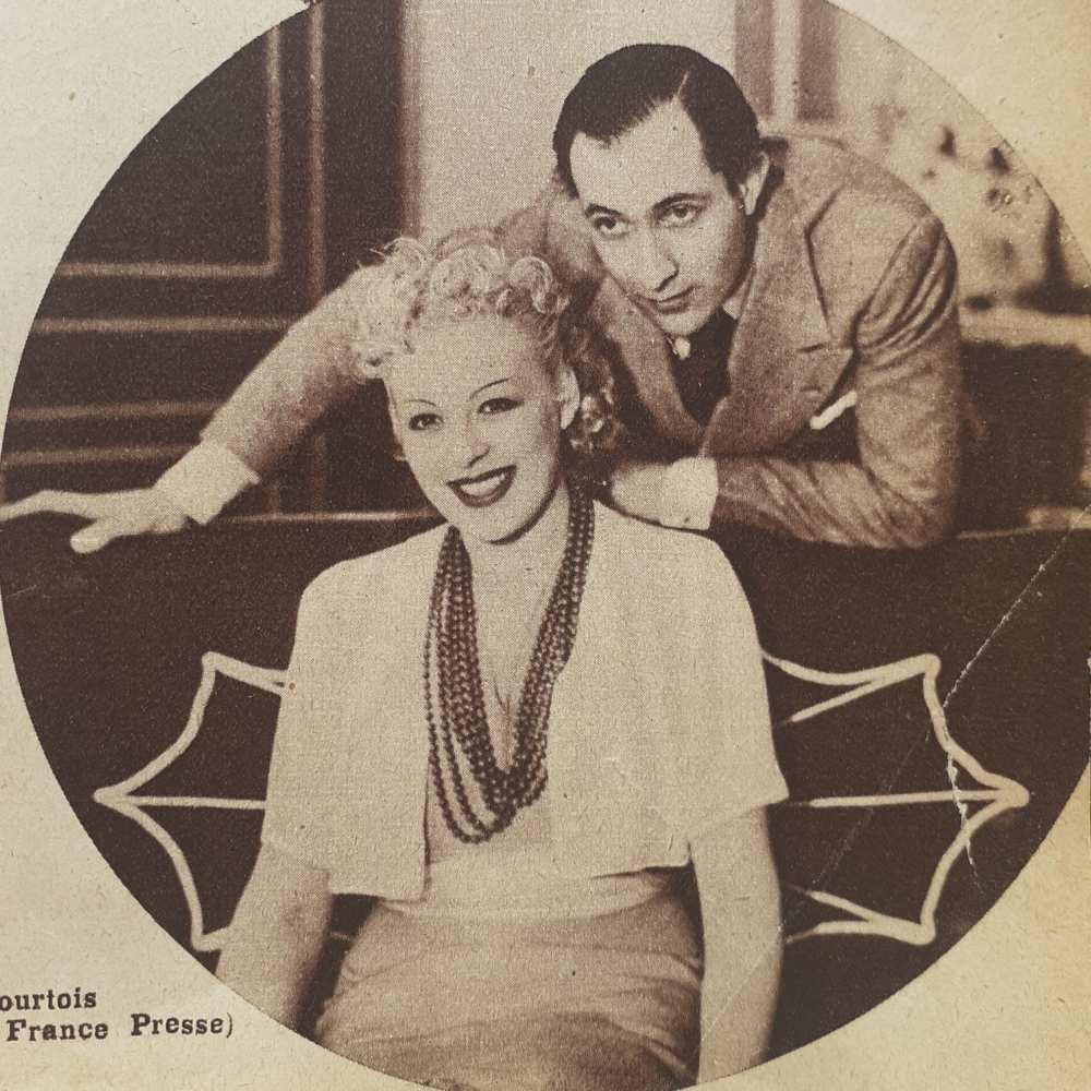 """""""A happy end."""" – Perczel Zita és Daniel Lecourtois a Barbara című darabban. Foto France Presse. In. Színházi Élet, 28. évf., 1938. február 20–február 26, 9. sz., 15. – Törzsgyűjtemény"""