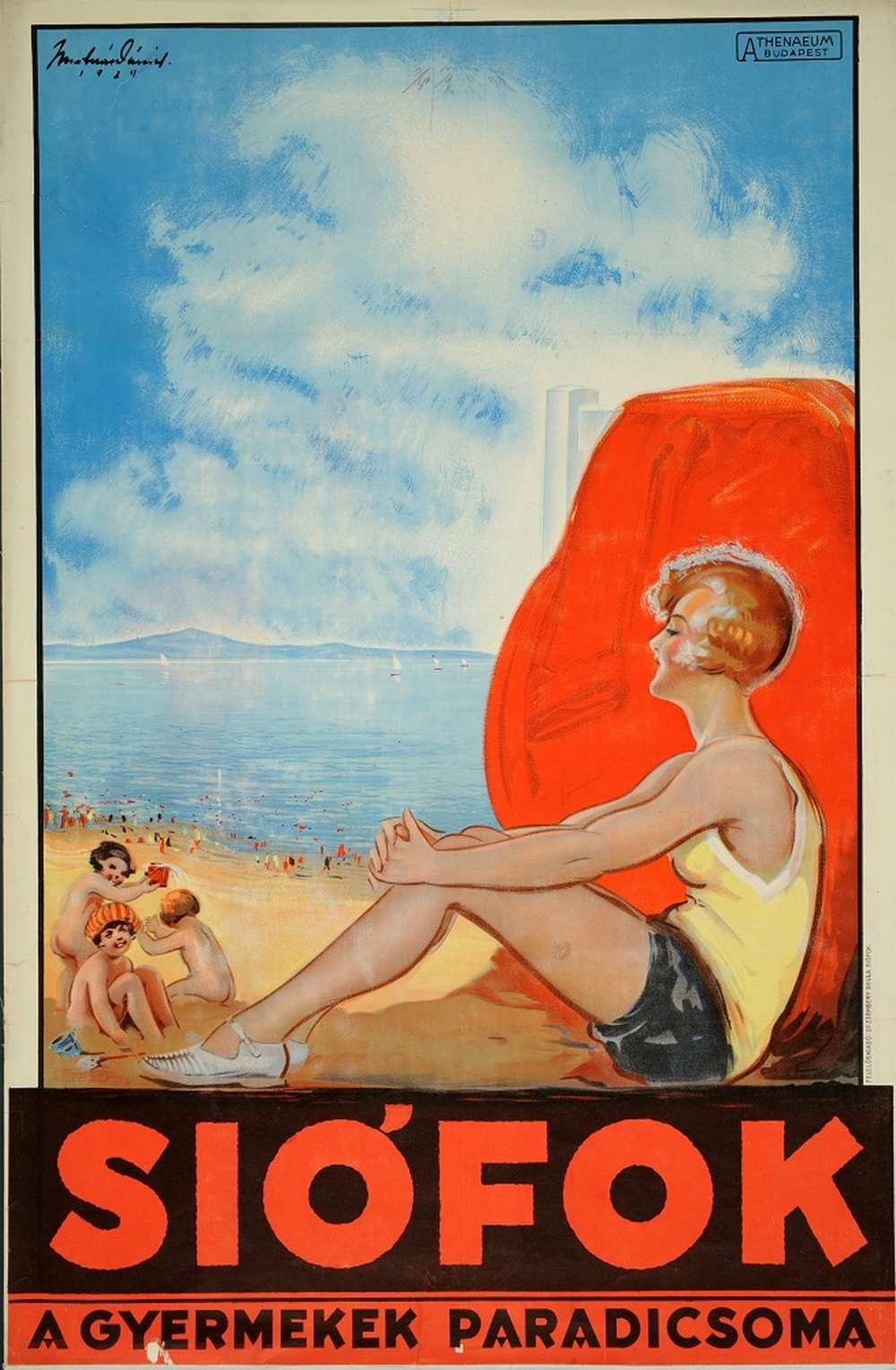 Molnár Dániel: Siófok a gyermekek paradicsoma (1929). Jelzet: PKG.1929/200 – Térkép-, Plakát- és Kisnyomtatványtár http://nektar.oszk.hu/hu/manifestation/2788818