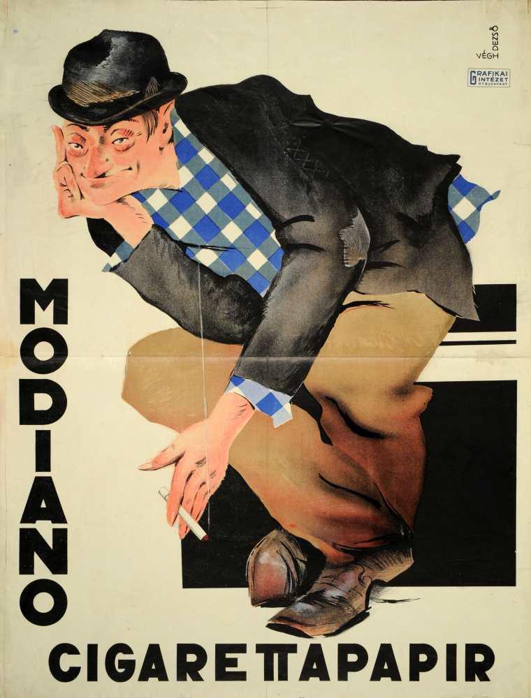 Modiano cigarettapapír. Grafikus: Végh Dezső. Jelzet: PKG.1928/114 – Plakát- és Kisnyomtatványtár