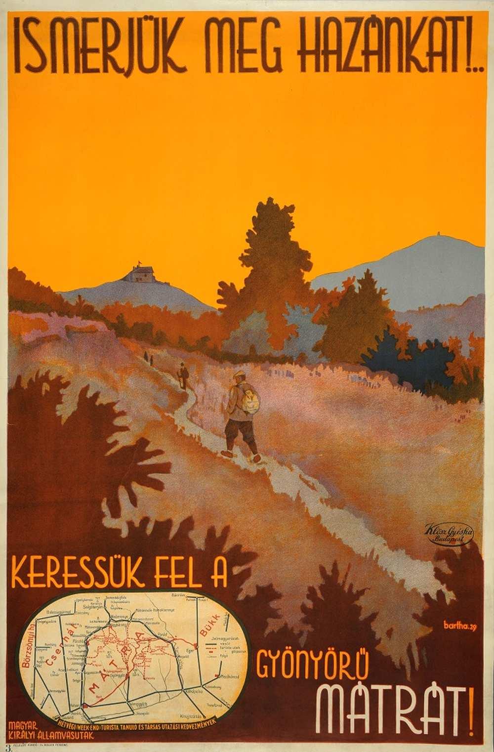 Bartha László: Ismerjük meg hazánkat! (1929). Jelzet: PKG.1929/204 – Térkép-, Plakát- és Kisnyomtatványtár http://nektar.oszk.hu/hu/manifestation/2789209