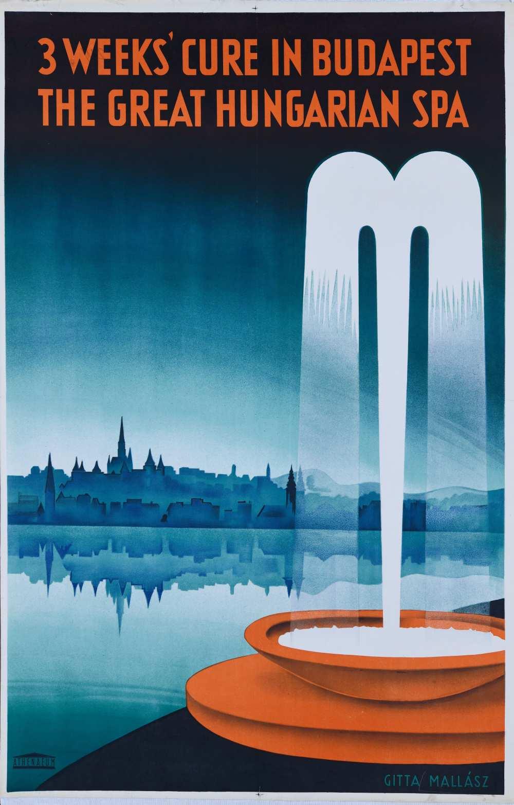 Mallász Gitta: 3 weeks' cure in Budapest the great Hungarian spa (1934). Jelzet: PKG.1934/211 – Térkép-, Plakát- és Kisnyomtatványtár http://nektar.oszk.hu/hu/manifestation/2799197