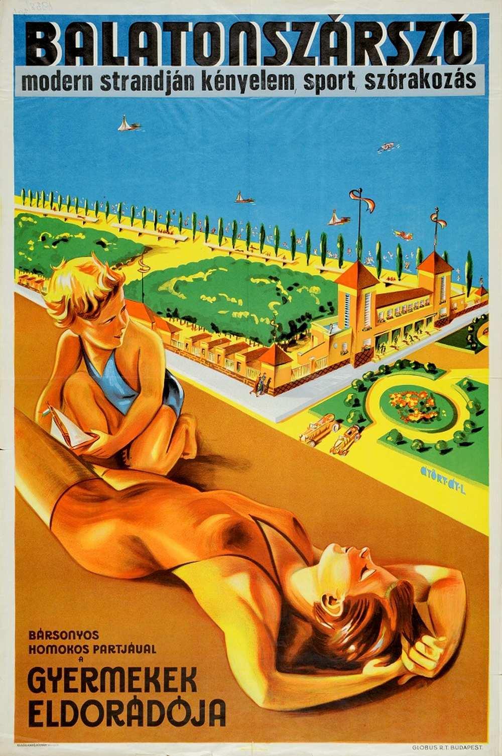 Győry Gy. László: Balatonszárszó modern strandján kényelem, sport, szórakozás (1938). Jelzet: PKG.1938/394 – Térkép-, Plakát- és Kisnyomtatványtár http://nektar.oszk.hu/hu/manifestation/2864457