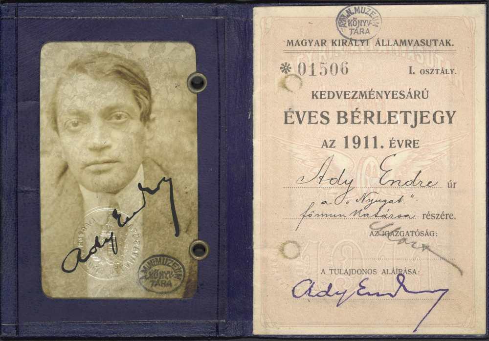 Ady Endre MÁV arcképes bérlete aláírással. Belső oldal, 1911 – Kézirattár: Analekta 97.