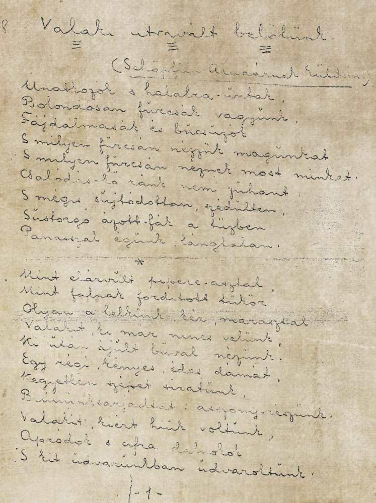 A Valaki útravált belőlünk kéziratának első oldala, 1912 – Kézirattár