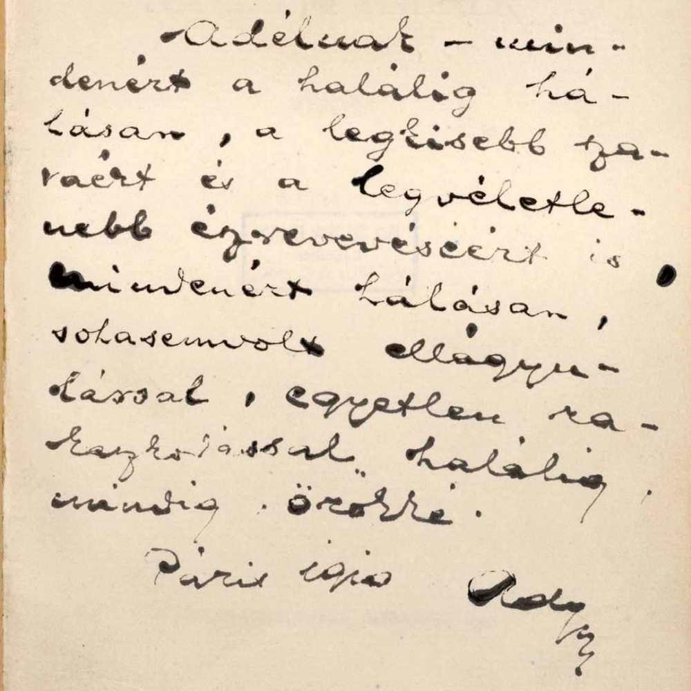 Ady Párizsban papírra vetett dedikációja Lédának a Szeretném, ha szeretnének című kötetben, Budapest, Nyugat, 1910. Borító – Kézirattár