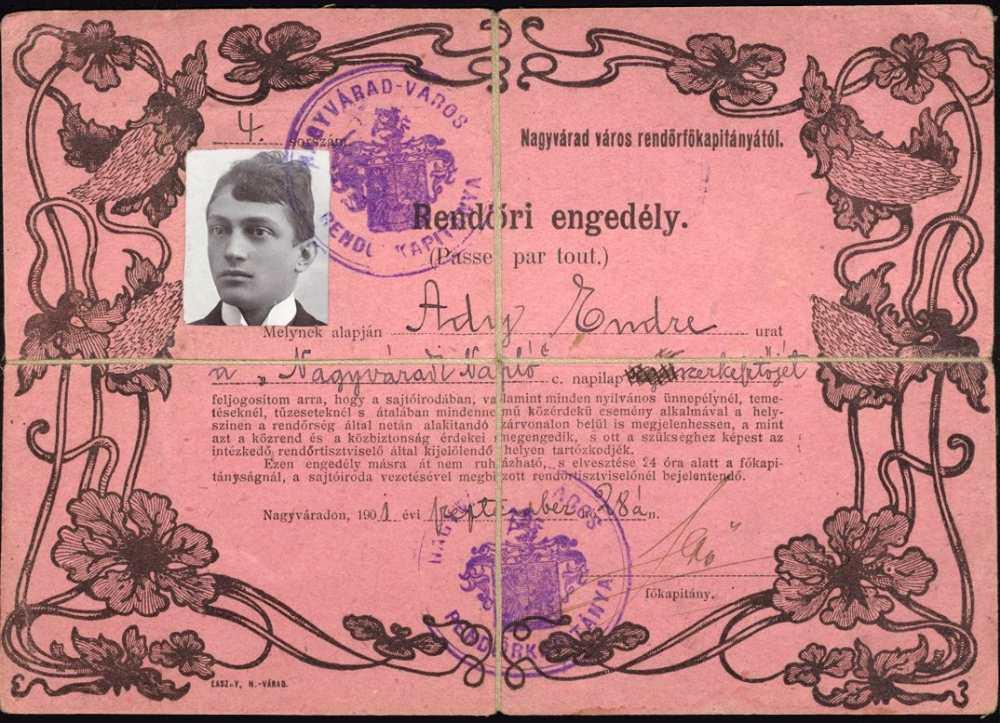 Rendőri engedély a Nagyváradi Napló szerkesztőjének, 1901 – Kézirattár: Analekta 106