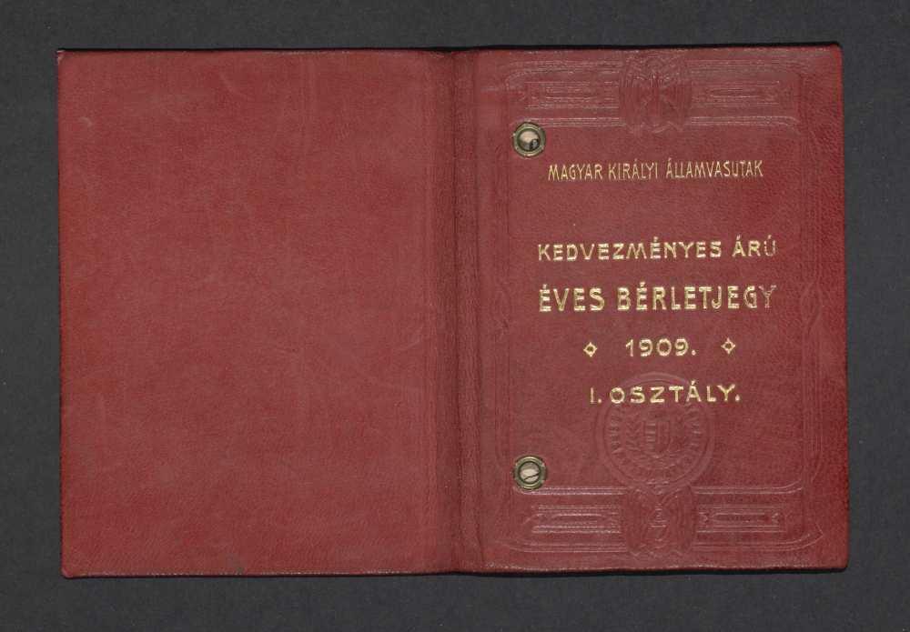 Ady Endre vasúti igazolványa arcképpel, aláírással, 1909. Borító – Kézirattár: 74/34