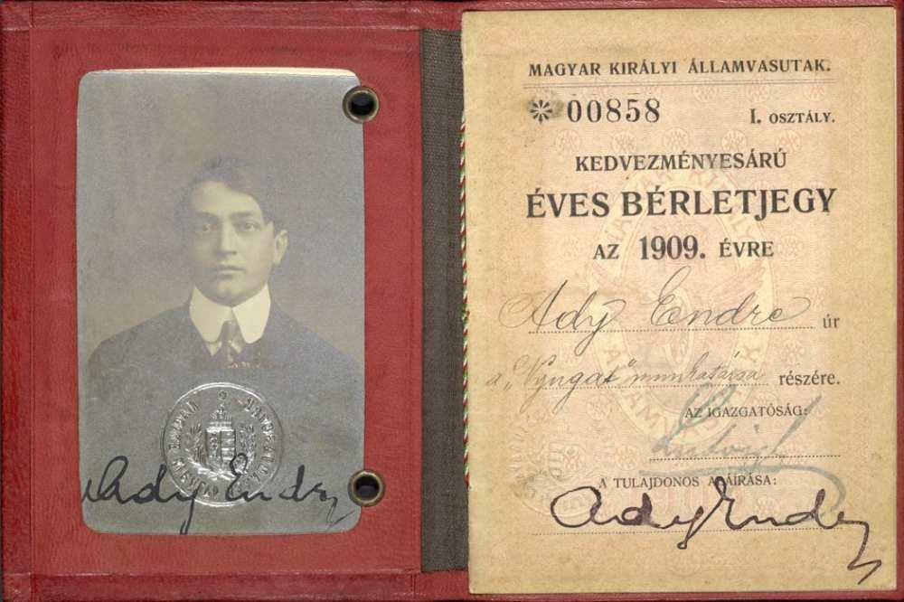 Ady Endre vasúti igazolványa arcképpel, aláírással. Belső oldal, 1909. – Kézirattár: 74/34