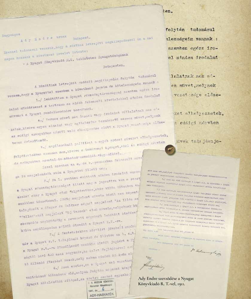 Adynak az 1909-ben megalakult Nyugat Könyvkiadó R.T-vel kötendő, Hatvany Lajos által szignózott szerződéstervezete, gépirat, 1911. – Kézirattár. Analekta 110.