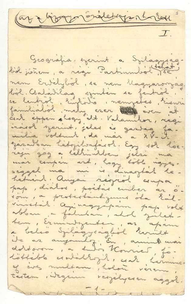 Ady Endre önéletrajza, 1909. 1. oldal (autográf) – Kézirattár: Analekta 103.