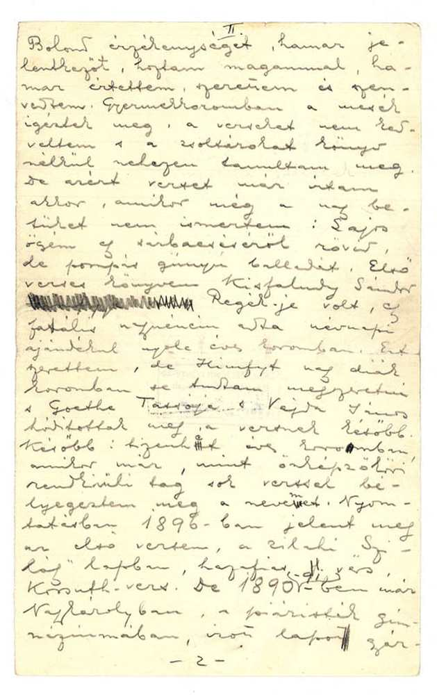 Ady Endre önéletrajza, 1909. 2. oldal (autográf) – Kézirattár: Analekta 103.