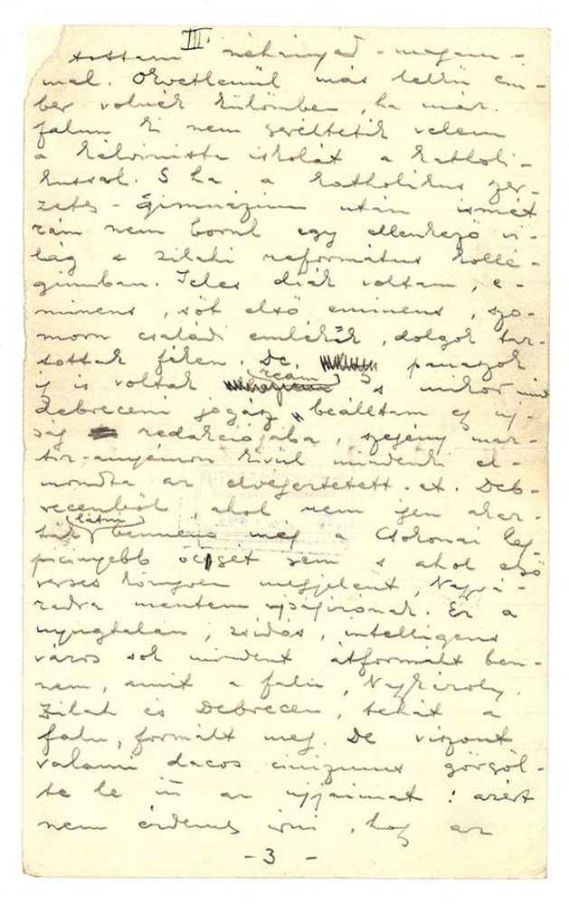 Ady Endre önéletrajza, 1909. 3. oldal (autográf) – Kézirattár: Analekta 103.