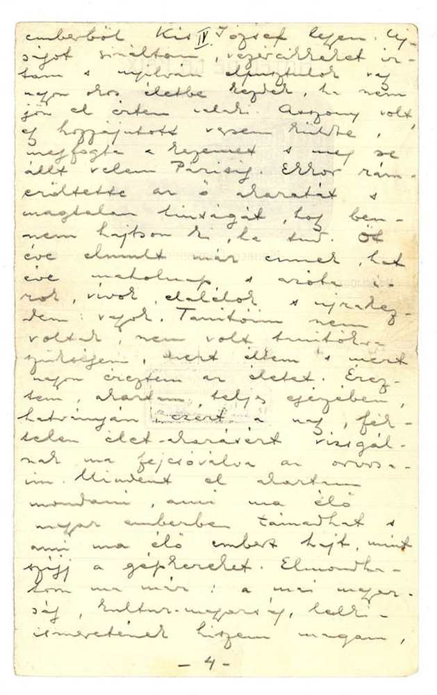Ady Endre önéletrajza, 1909. 4. oldal (autográf) – Kézirattár: Analekta 103.
