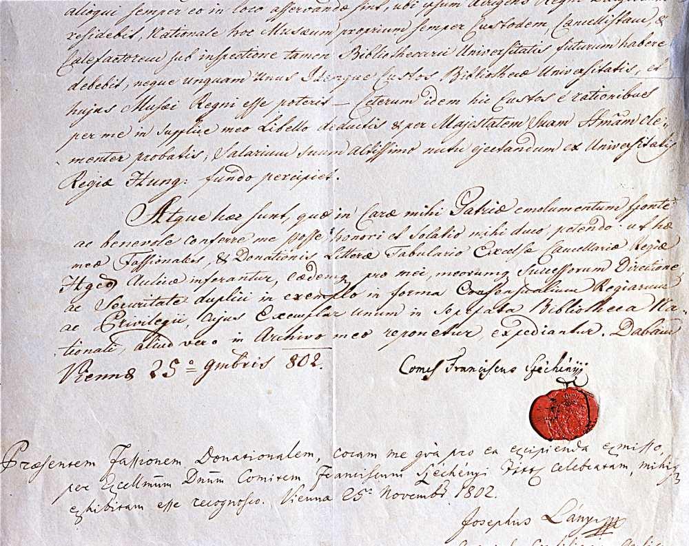 A nemzeti könyvtár I. Ferenc király által jóváhagyott és pecséttel ellátott alapítólevele (1802. november 26.)