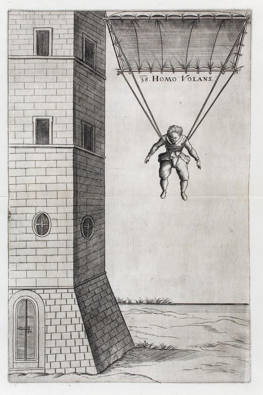 Verancsics Faustus: Machinae novae Fausti Verantii Siceni, [Venezia], [s. n.], 1616. Homo volans (A repülő ember) – Régi Nyomtatványok Tára. Jelzet: App. H. 679 (Apponyi-gyűjtemény)