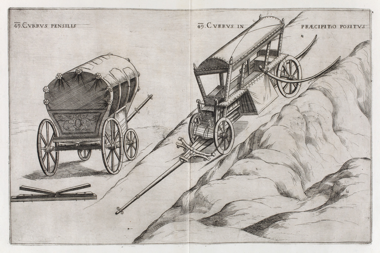Verancsics Faustus: Machinae novae Fausti Verantii Siceni, [Venezia], [s. n.], 1616. Homo volans ( Vasrugózású kocsi – Régi Nyomtatványok Tára. Jelzet: App. H. 679 (Apponyi-gyűjtemény)