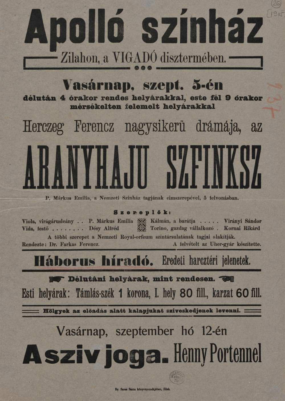 Az aranyhaju szfinksz. Filmplakát, 1915. – Térkép-, Plakát- és Kisnyomtatványtár, Jelzet: Szöv.pl 1915
