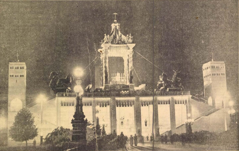 Az Est fotóriportja az éjszakai szentségimádásról és az éjféli miséről. Fényben úszik az eucharisztikus díszoltár a ragyogó éjszakában. In. Az Est, 1938. május 29., 5. – Törzsgyűjtemény http://nektar.oszk.hu/hu/manifestation/980856