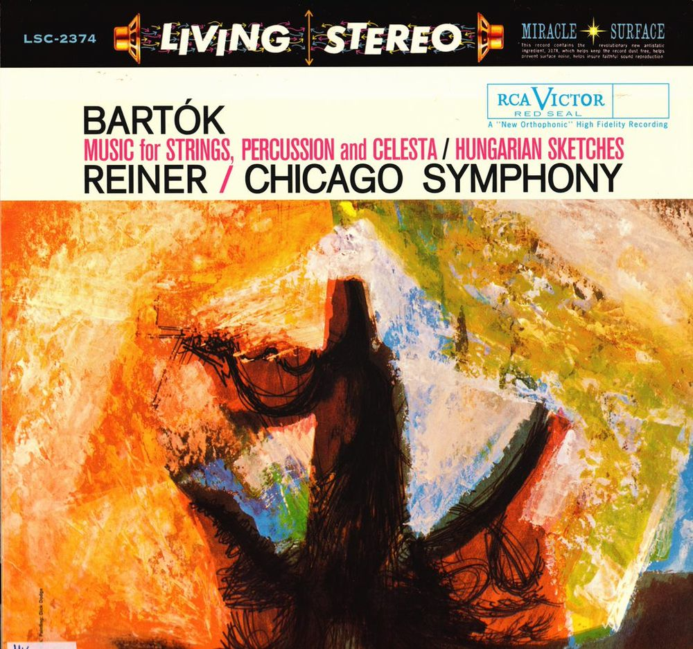 Bartók Béla, Fritz Reiner: Music For Strings, Percussion And Celesta; Hungarian Sketches, Chicago Symphony, RCA Living Stereo, 1960. A lemezborító elülső oldala.