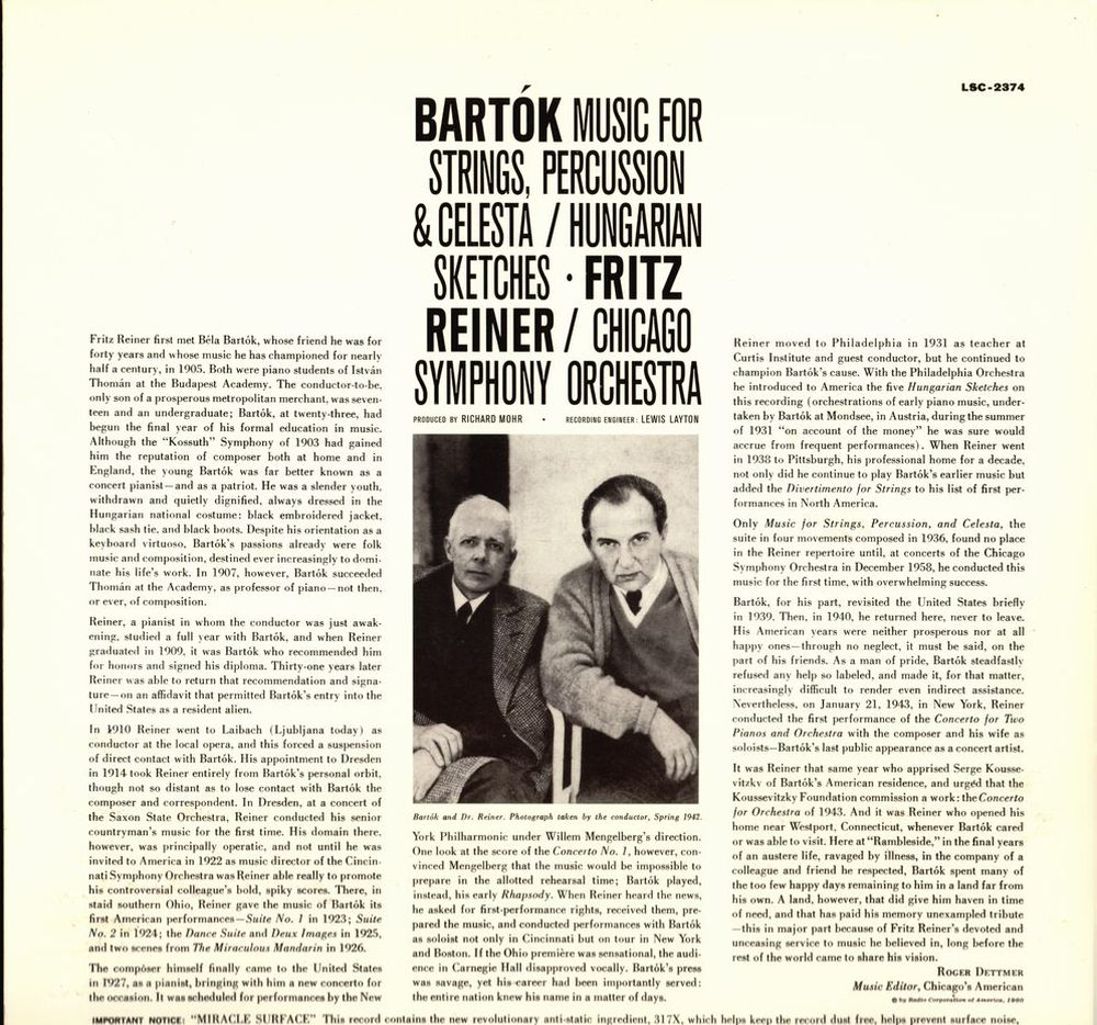 Bartók Béla, Fritz Reiner: Music For Strings, Percussion And Celesta; Hungarian Sketches, Chicago Symphony, RCA Living Stereo, 1960. A lemezborító hátulsó oldala.