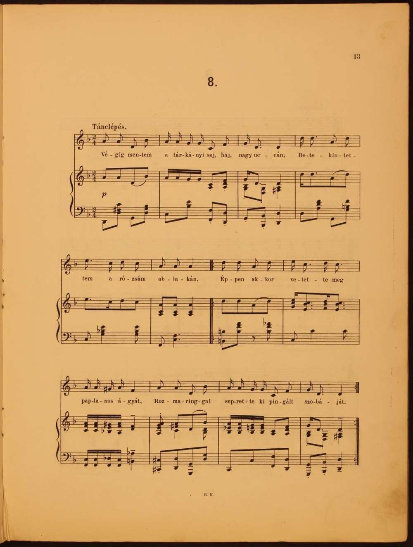 Magyar népdalok énekhangra, 1906. 8. szám: Végig mentem a tárkányi utcán… – Színháztörténeti és Zeneműtár