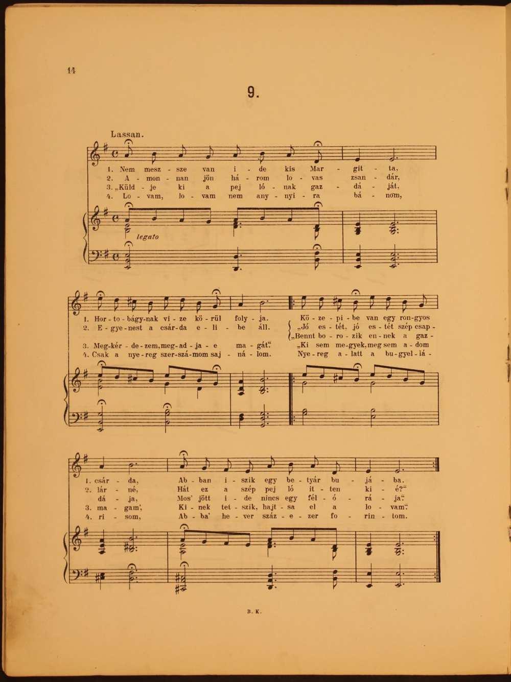 Magyar népdalok énekhangra, 1906. 9. szám: Nem messze van ide kis Margita… – Színháztörténeti és Zeneműtár