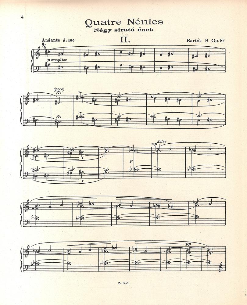 Bartók Béla: Négy sirató ének zongorára, op. 9b, Bp., Zeneműkiadó Vállalat, 1955. – Zeneműtár. Jelzet: Z 45.286