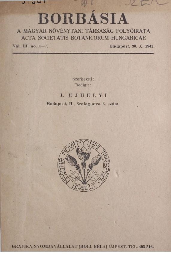 A Borbásia folyóirat címlapja 3 évf., 1941. 4–7. szám – Törzsgyűjtemény http://nektar.oszk.hu/hu/manifestation/978638<br />