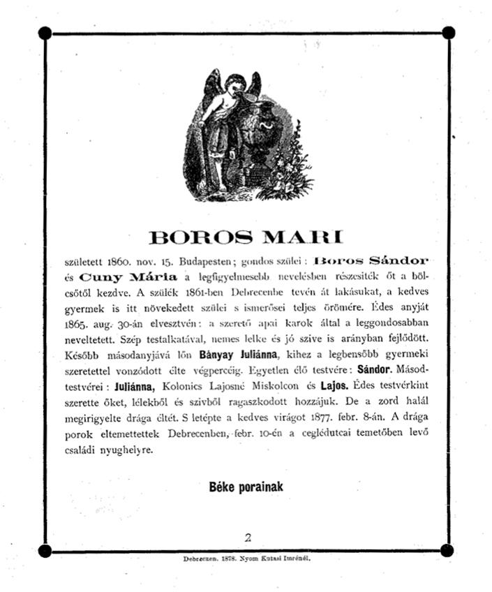 Boros Mari emlékezete - Temetési beszéd, 1877. Debrecen (Kny.C 4.762)