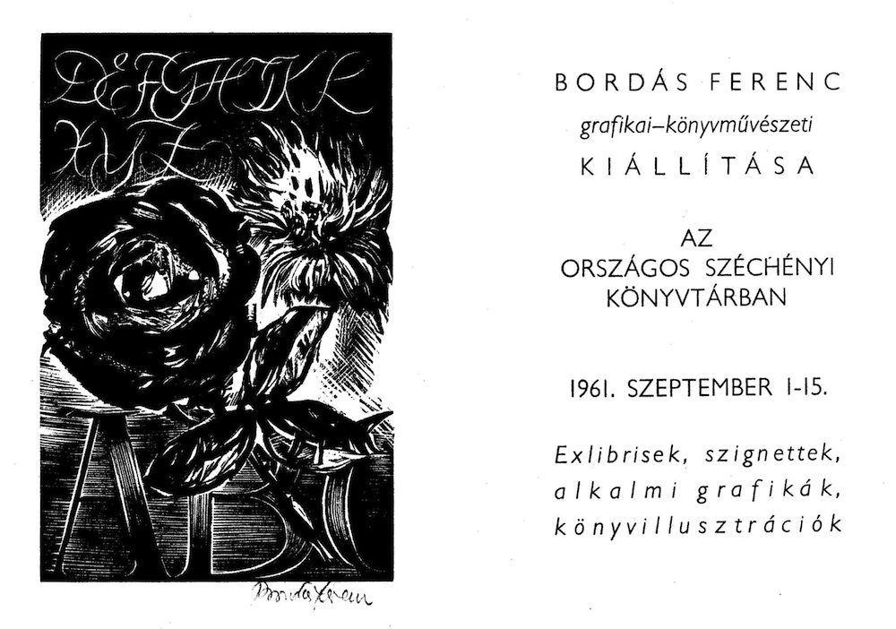 Bordás Ferenc grafikai-könyvművészeti kiállítása 1961. szept. 1–15., rend.: Varga Sándor Frigyes. Meghívó – Törzsgyűjtemény