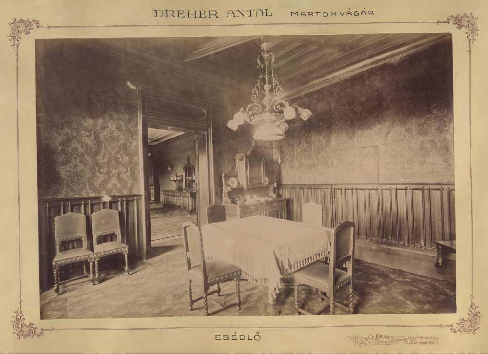A Brunszvik (ekkor Dreher) kastély ebédlője, 1898. Forrás: Fortepan/Budapest Főváros Levéltára HU.BFL. XV.19.d.1.11.088.