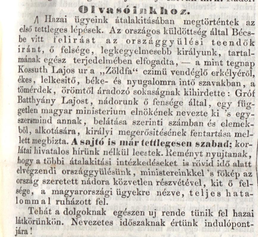 Budapesti Híradó, 1848. március 18. 789. sz. – Törzsgyűjtemény