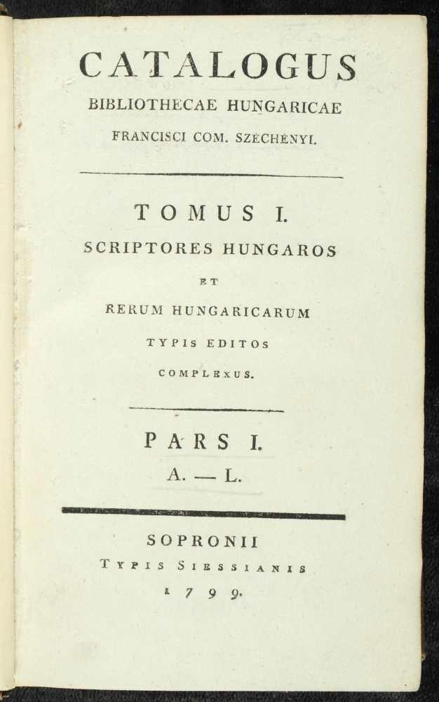 Széchényi könyvgyűjteményének első nyomtatott katalógusa, 1799–1800