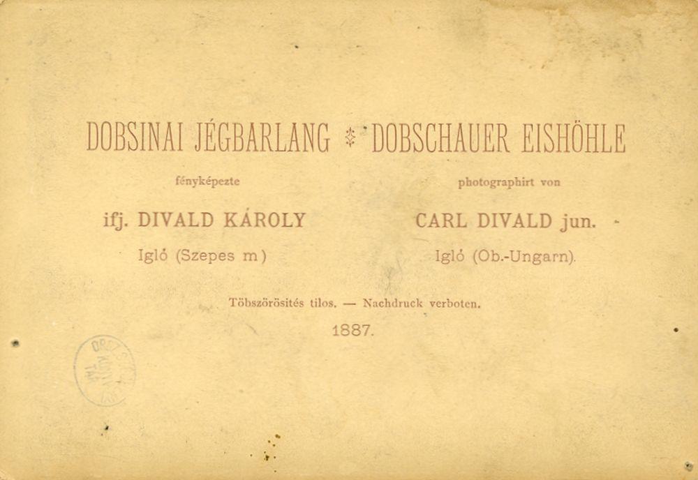 Dobsinai jégbarlang: látkép. Fotó: Divald Károly, Dobsina, 1887. A fénykép hátlapja. – Történeti fénykép-és videótár. Jelzet: Ftb 134