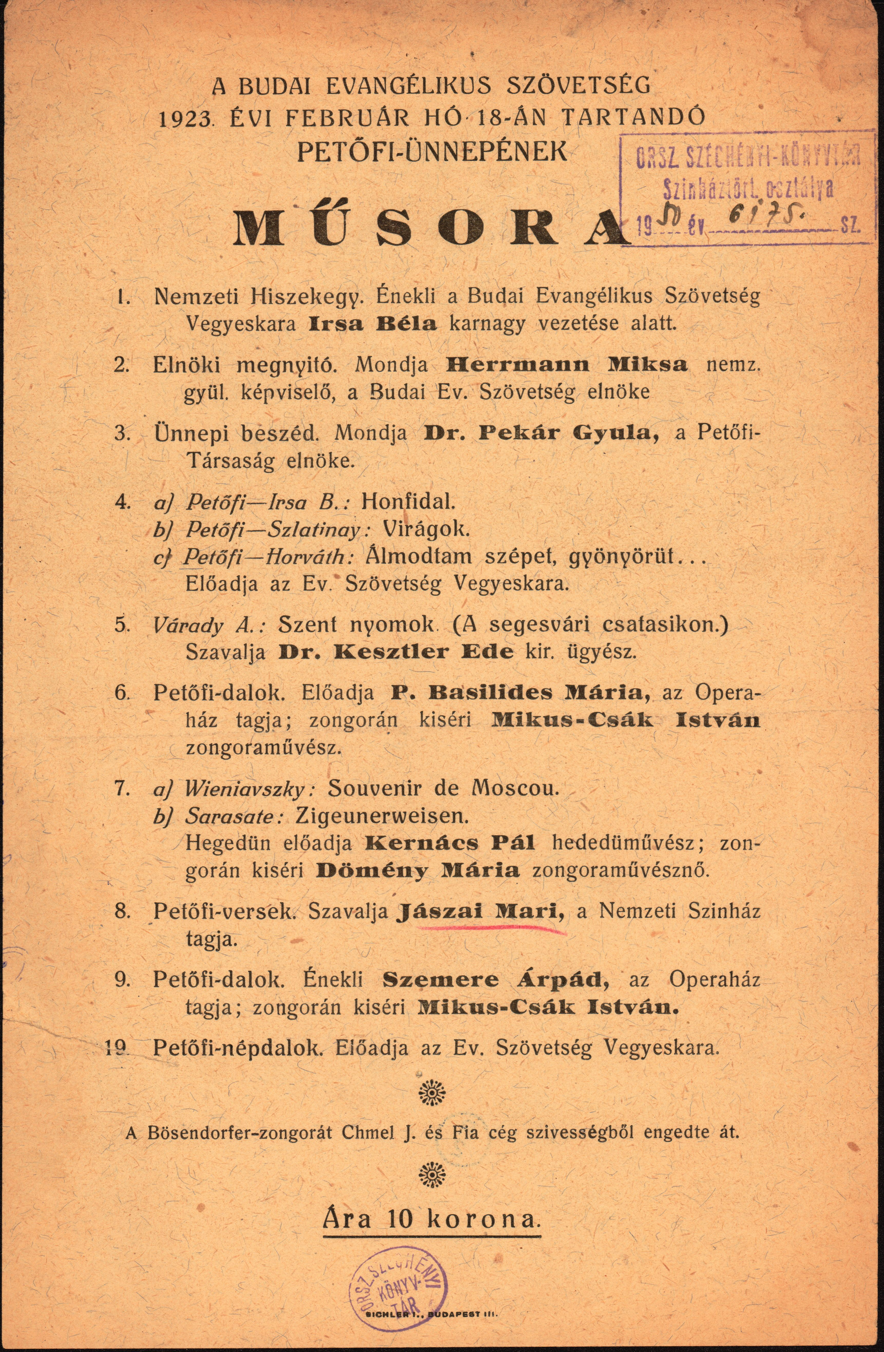A Budai Evangélikus Szövetség Petőfi-ünnepének 1923-as szórólapja
