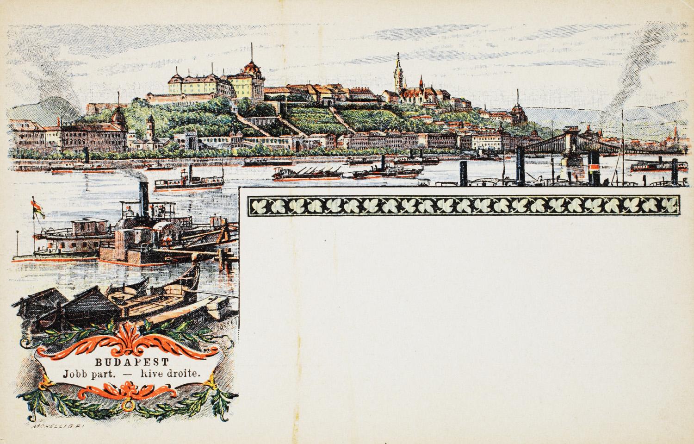 Budpaest jobb part. Budapesti látképek. A millenniumi képeslapsorozat egyik darabja. – Plakát- és Kisnyomtatványtár