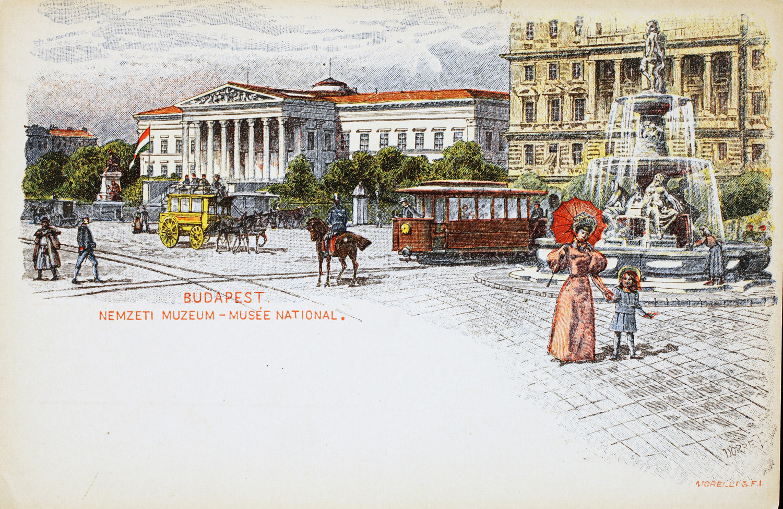 Nemzeti Múzeum. Budapesti látképek. A millenniumi képeslapsorozat egyik darabja. – Plakát- és Kisnyomtatványtár