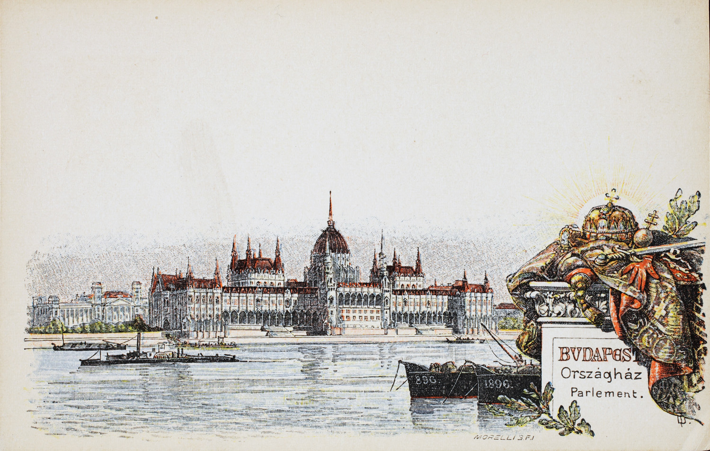 Országház. Budapesti látképek. A millenniumi képeslapsorozat egyik darabja. – Plakát- és Kisnyomtatványtár