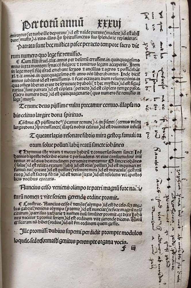 Expositio hymnorum cum commento, [Köln, Heinrich Quentell, 1496. – Régi Nyomtatványok Tára. Jelzet: Inc. 913. Koll. Fiij folió recto http://nektar.oszk.hu/hu/manifestation/2763516