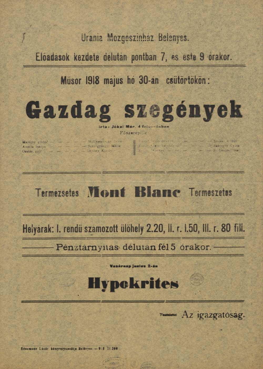 Gazdag szegények. Filmplakát, 1918. – Térkép-, Plakát- és Kisnyomtatványtár, Jelzet: Szöv.pl 1918