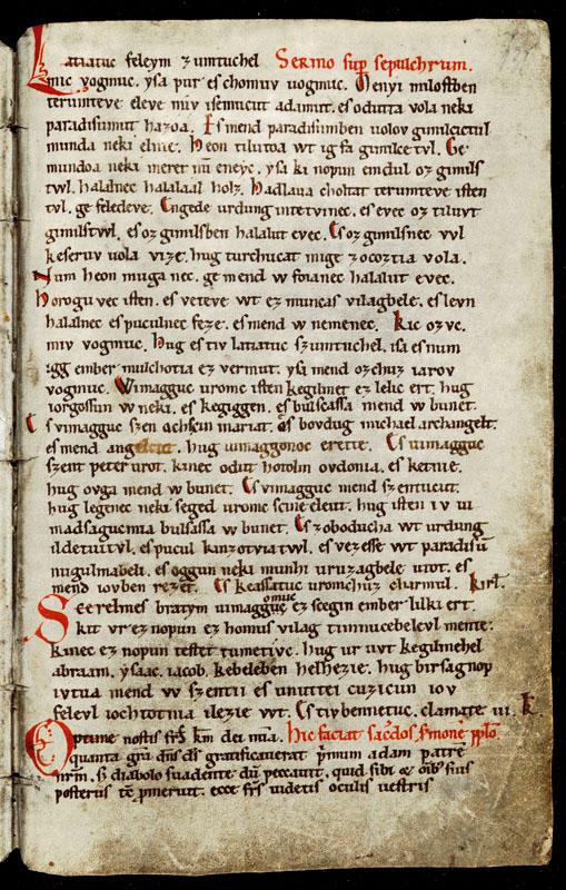 A Halotti Beszéd és Könyörgés a magyar nyelv és az egész finnugor nyelvcsalád első ismert összefüggő prózai nyelvemléke. – Pray-kódex, 12 század közepe–13. század eleje. – MNy. 1. – Kézirattár