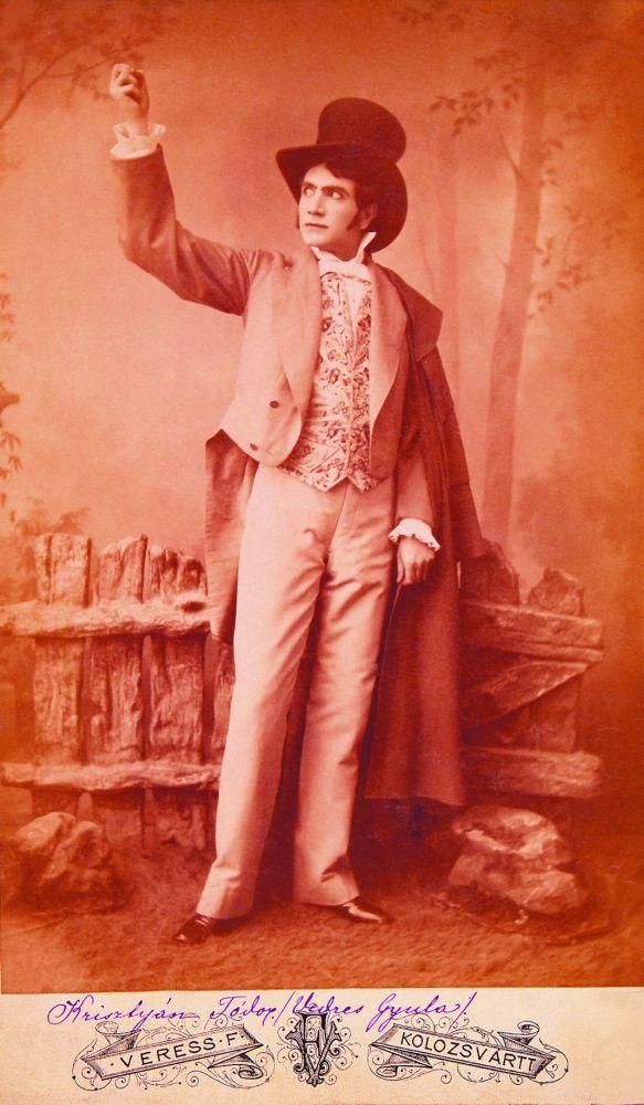 Vedress Gyula mint Krisztyán Tódor Jókai Mór Az arany ember című művében (1885, Kolozsvár) – Színháztörténeti és Zeneműtár. Jelzet: 11852/1953 – KB