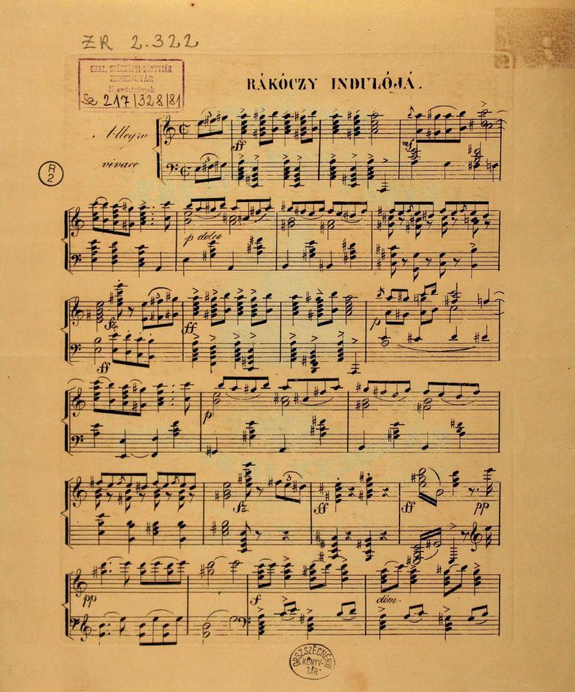 Erkel Ferenc: Emlékül Liszt Ferenczre. Rákóczy indulója, Pest, Wagner, [1840]. Címlap, 1. o. – Zeneműtár (ZR 2.322)
