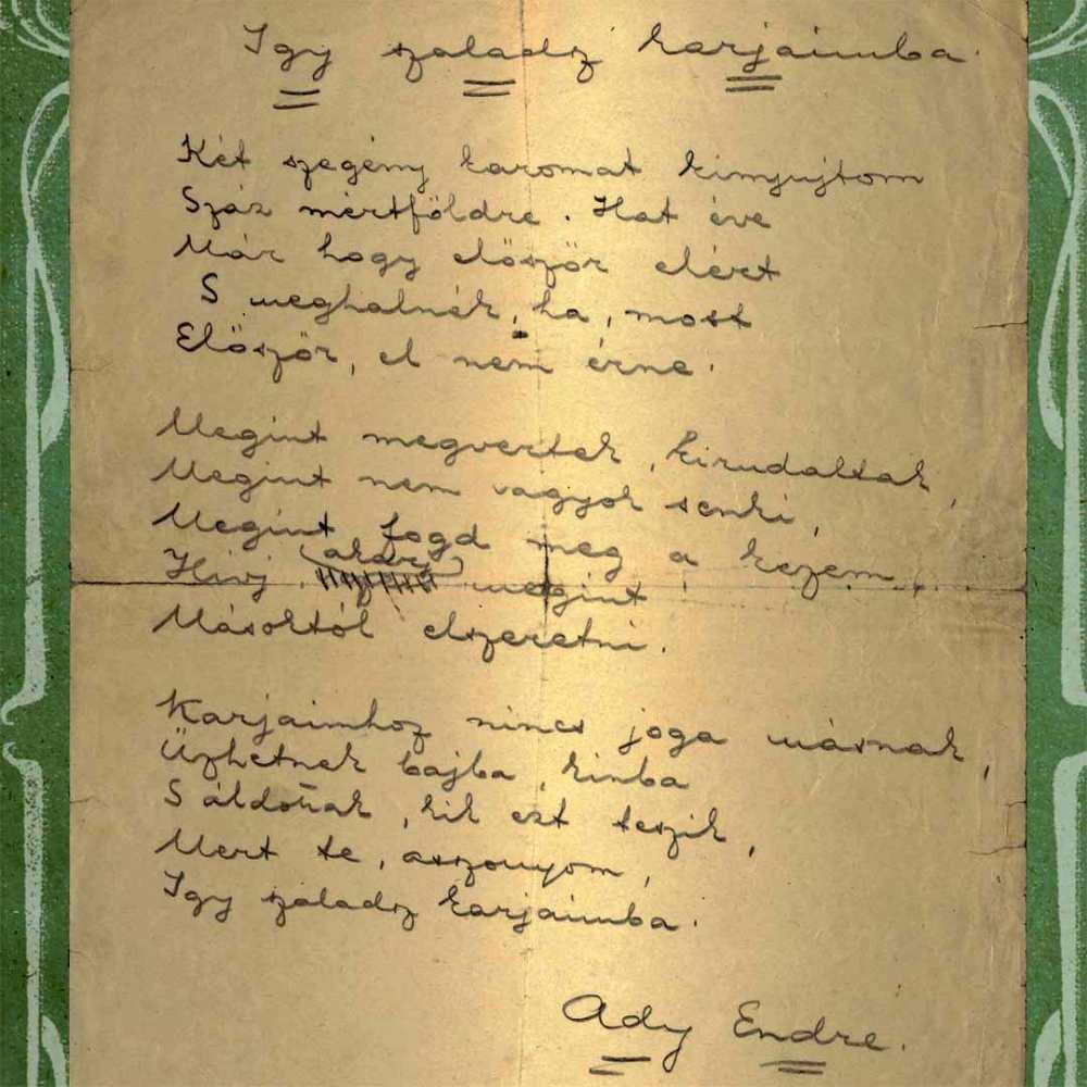 Ady Endre: Így szaladsz karjaimba, 1909 (autográf) – Kézirattár: Analekta 10.779